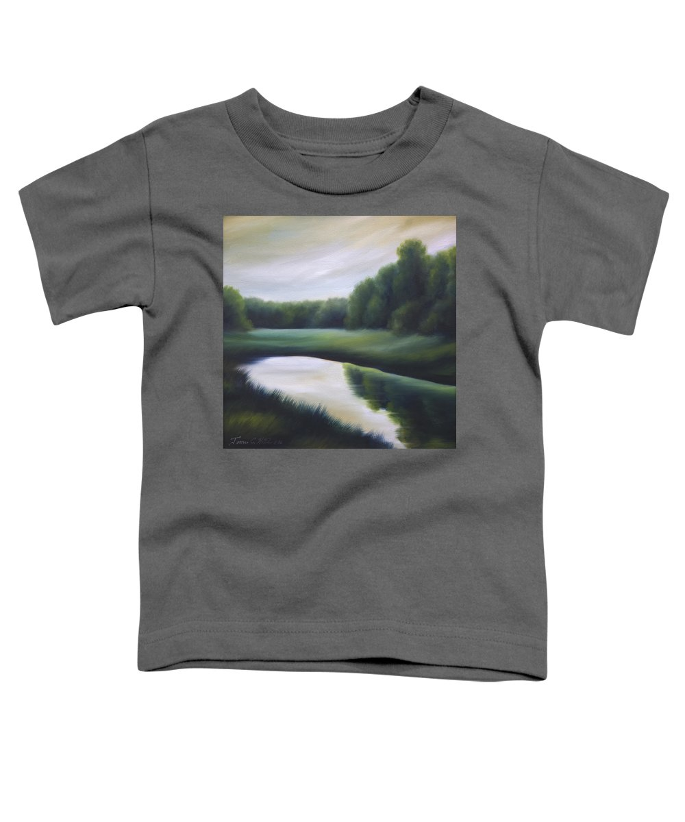 Nature; Lake; Sunset; Sunrise; Serene; Forest; Trees; Water; Ripples; Clearing; Lagoon; James Christopher Hill; Jameshillgallery.com; Foliage; Sky; Realism; Oils; Green; Tree Toddler T-Shirt featuring the painting A Day In The Life 3 by James Christopher Hill
