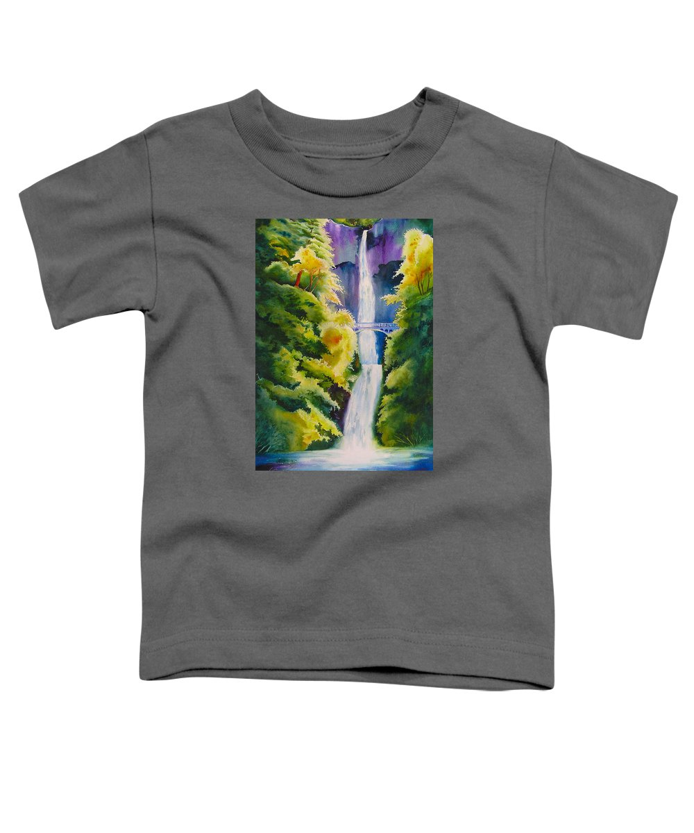 Waterfall Toddler T-Shirt featuring the painting A Favorite Place by Karen Stark