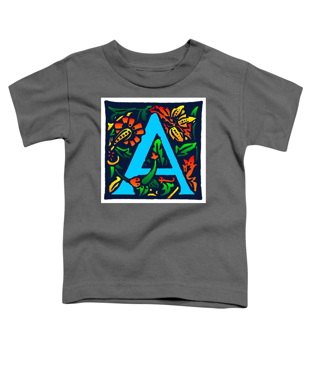 Alphabet Toddler T-Shirt featuring the digital art A In Blue by Kathleen Sepulveda