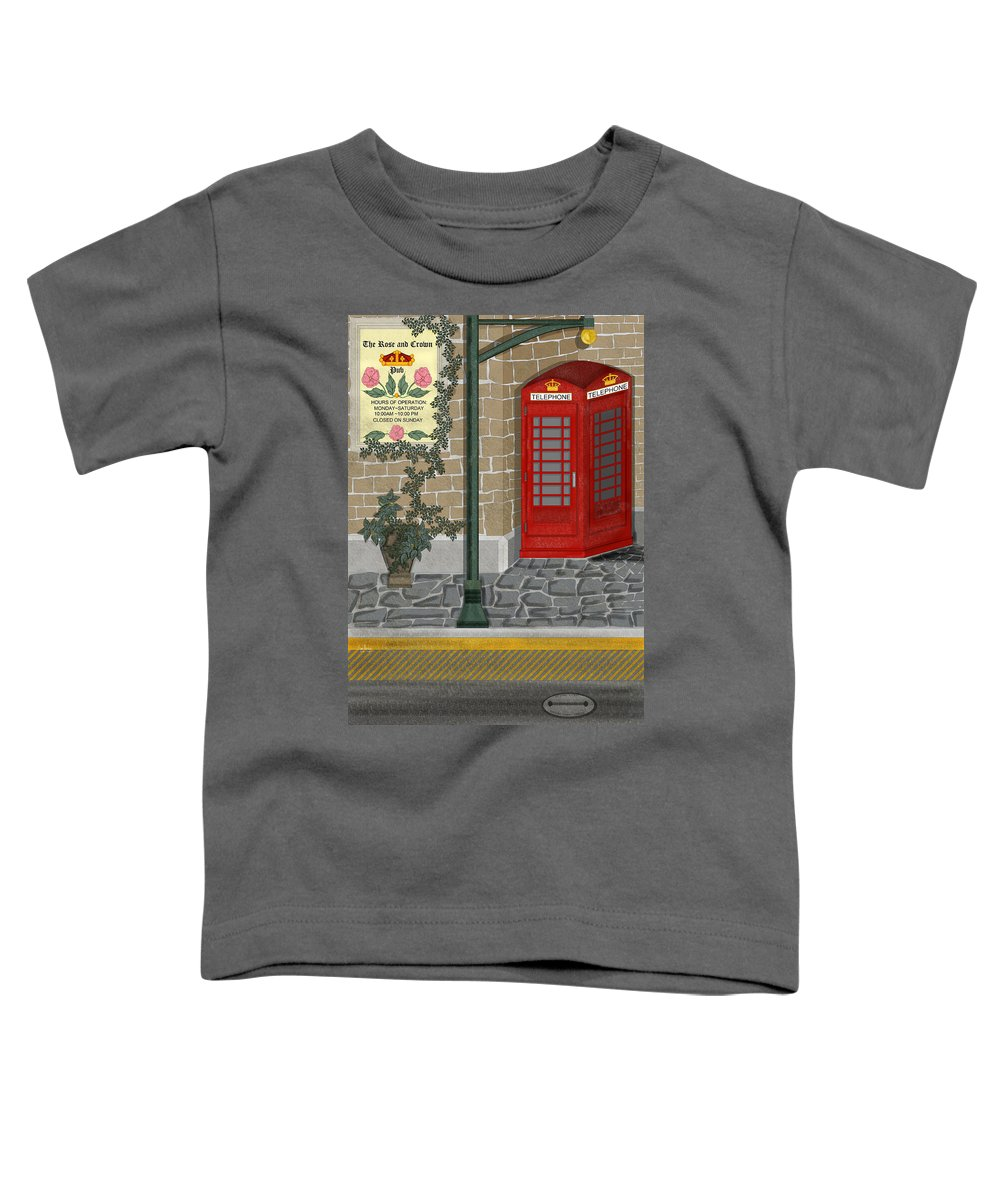 Cityscape Toddler T-Shirt featuring the painting A Merry Old Corner In London by Anne Norskog