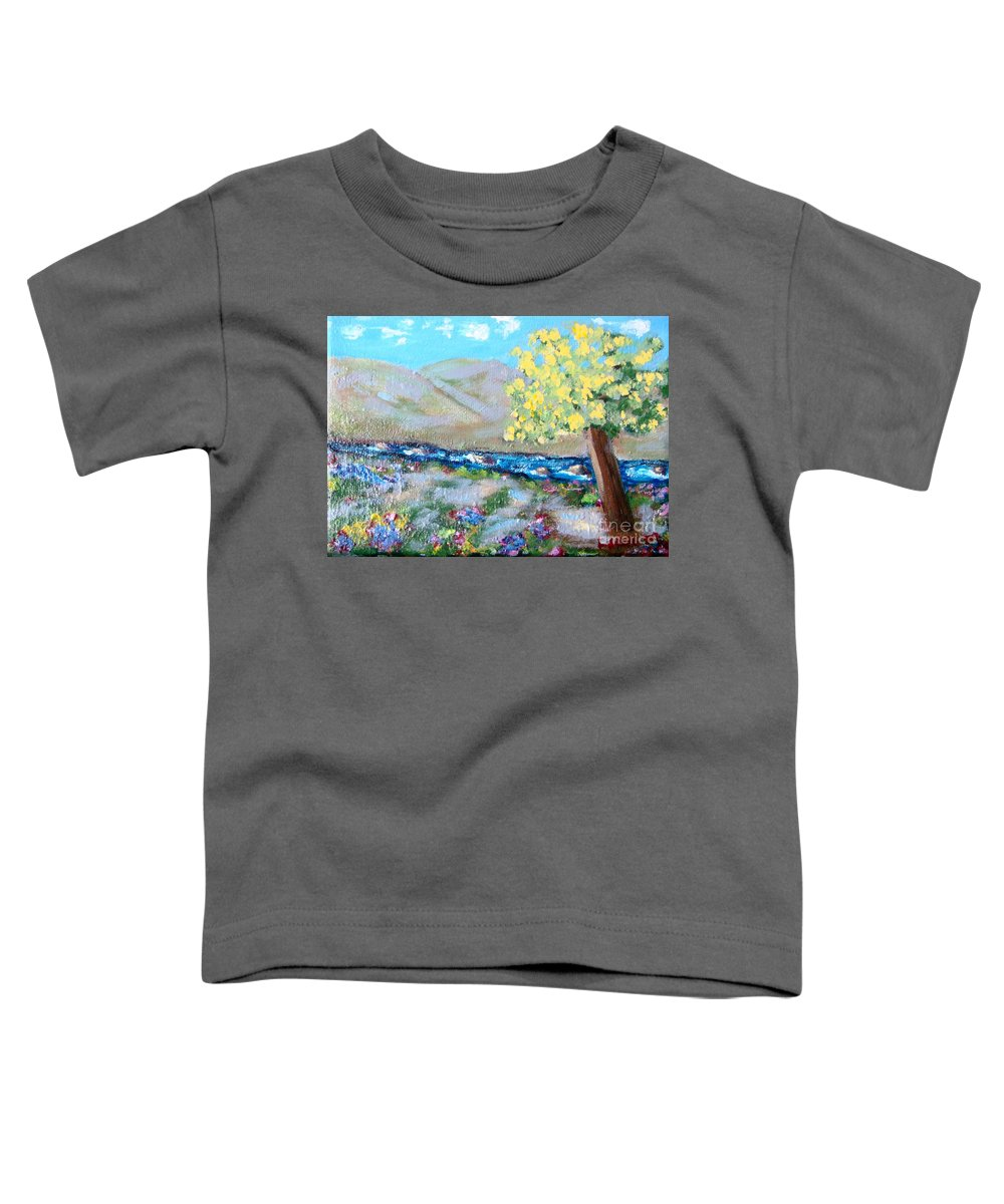 Landscapes Toddler T-Shirt featuring the painting A Quiet Place by Laurie Morgan