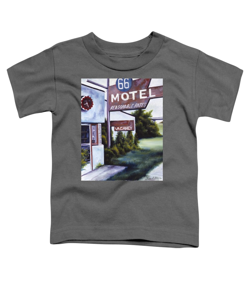 Motel; Route 66; Desert; Abandoned; Delapidated; Lost; Highway; Route 66; Road; Vacancy; Run-down; Building; Old Signage; Nastalgia; Vintage; James Christopher Hill; Jameshillgallery.com; Foliage; Sky; Realism; Oils Toddler T-Shirt featuring the painting A Road Less Traveled by James Christopher Hill