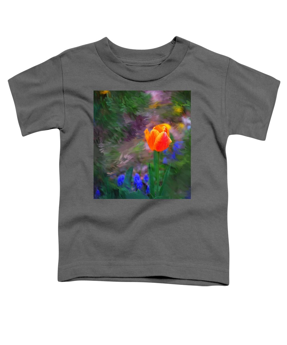 Floral Toddler T-Shirt featuring the digital art A Tulip Stands Alone by David Lane
