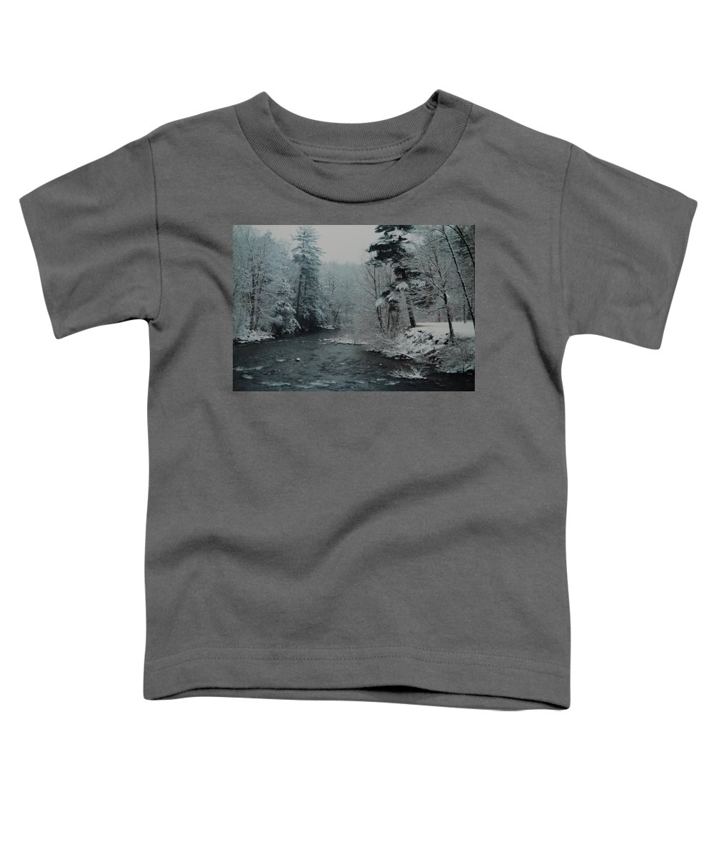 B&w Toddler T-Shirt featuring the photograph A Winter Waterland by Rob Hans