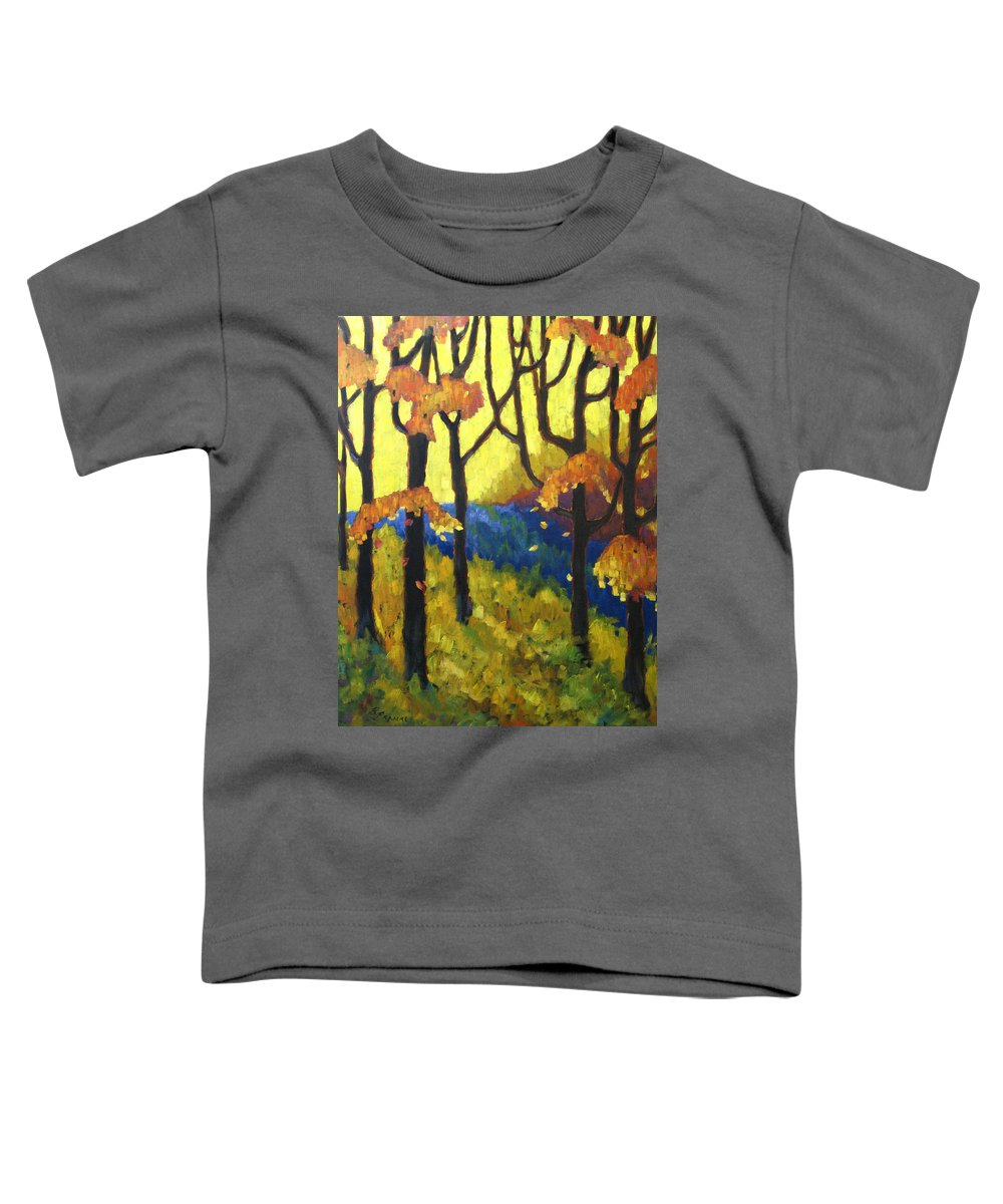 Art Toddler T-Shirt featuring the painting Abstract Forest by Richard T Pranke