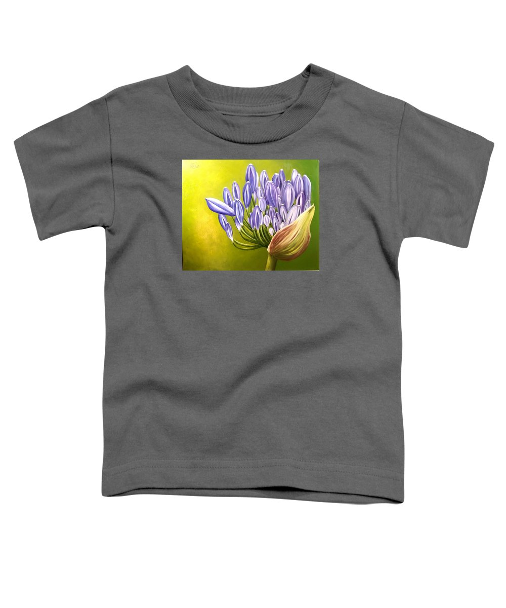 Flower Toddler T-Shirt featuring the painting Agapanthos by Natalia Tejera