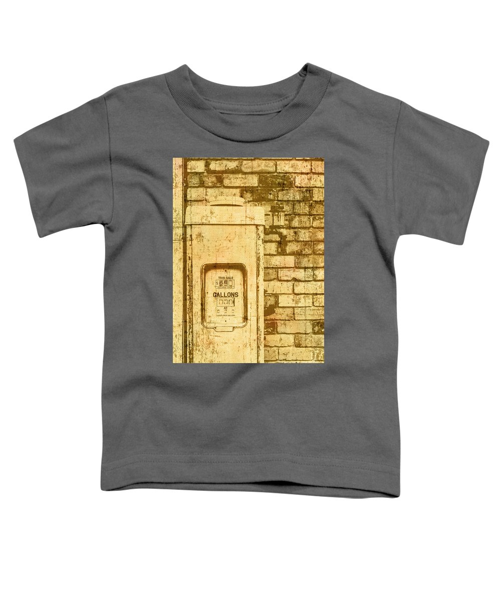 Garage Toddler T-Shirt featuring the photograph Aged Yellowed Vintage Photo Of A Gas Pump by Jorgo Photography - Wall Art Gallery