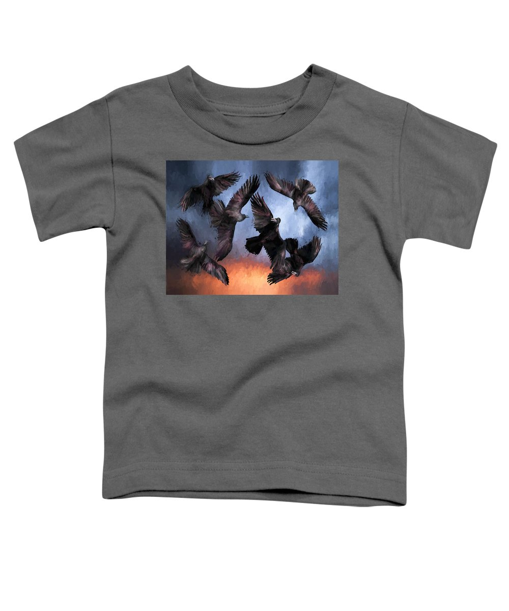 Fine Art Toddler T-Shirt featuring the painting Airborne Unkindness by David Wagner