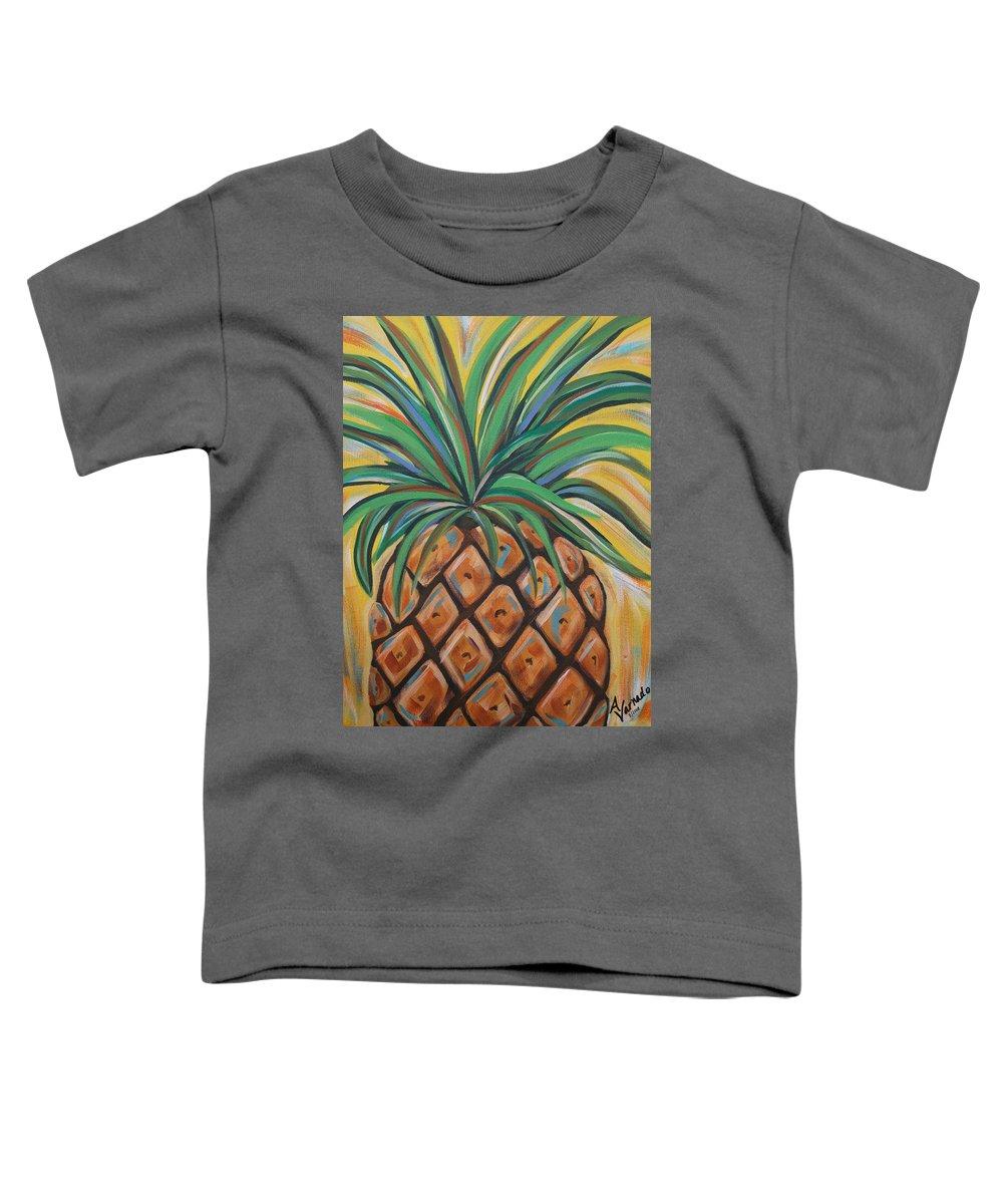 Aloha Toddler T-Shirt featuring the painting Aloha by Angela Miles Varnado