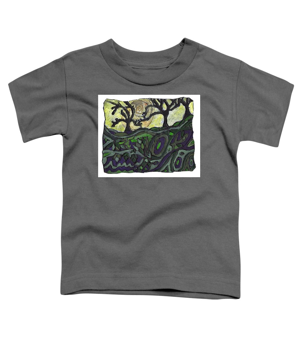 Woods Toddler T-Shirt featuring the painting Alone In The Woods by Wayne Potrafka