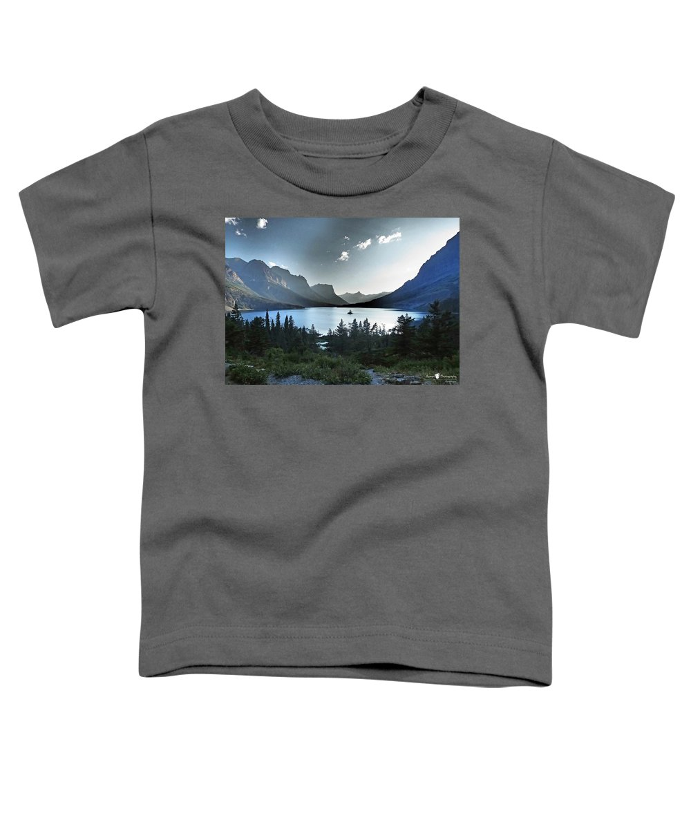 St. Mary Lake Toddler T-Shirt featuring the photograph Alpine Dusk by Stephanie McGuire