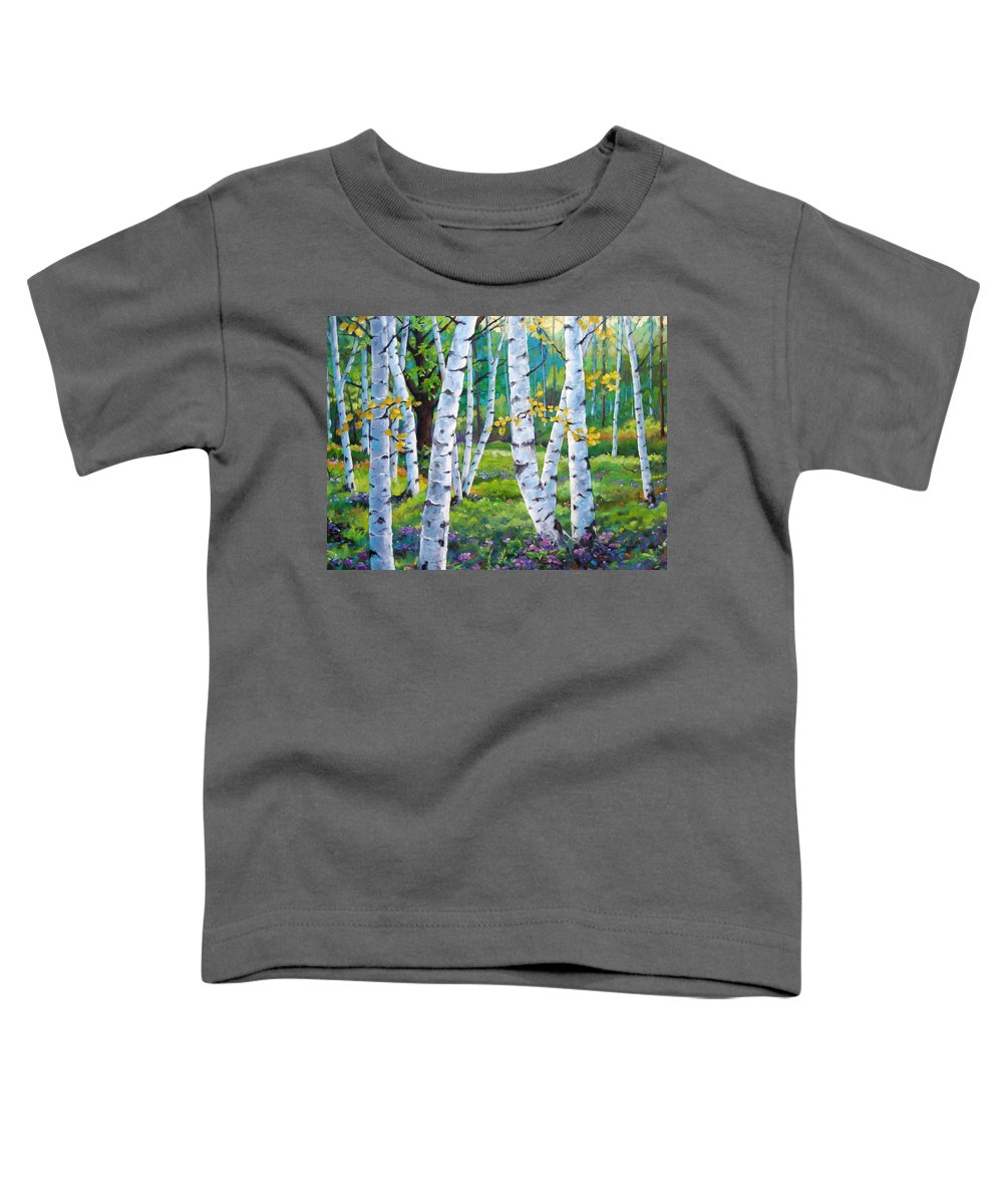 Birche; Birches; Tree; Trees; Nature; Landscape; Landscapes Scenic; Richard T. Pranke; Canadian Artist Painter Toddler T-Shirt featuring the painting Alpine Flowers And Birches by Richard T Pranke