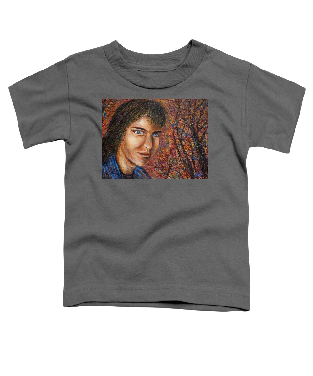 Colorful Autumn Toddler T-Shirt featuring the painting Amber Glow by Natalie Holland