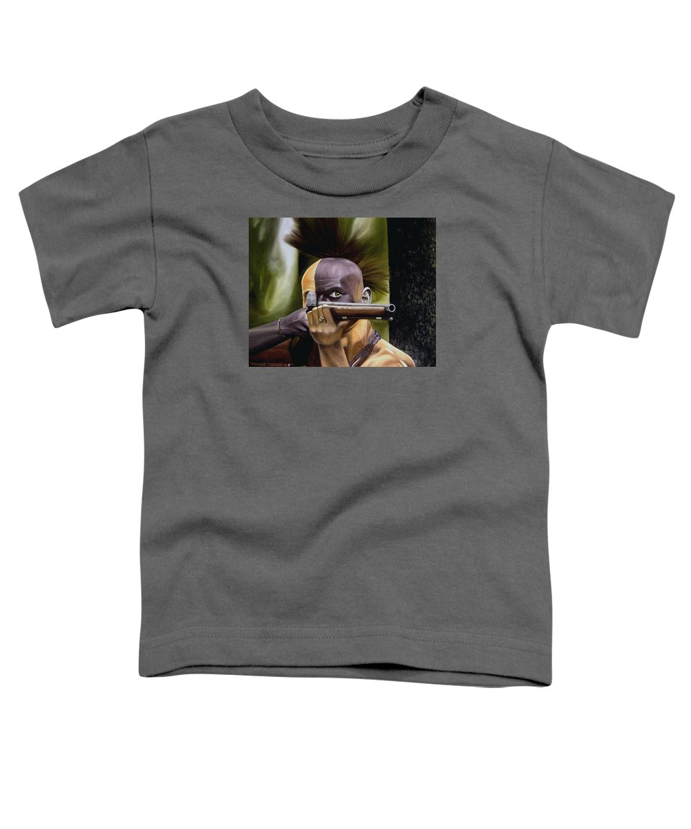 Indian Toddler T-Shirt featuring the painting Ambush by Marc Stewart