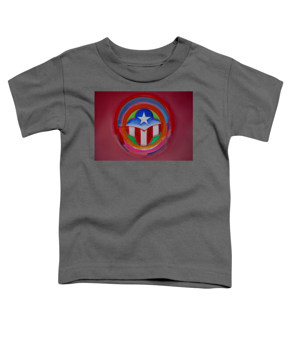 Button Toddler T-Shirt featuring the painting American Star Button by Charles Stuart