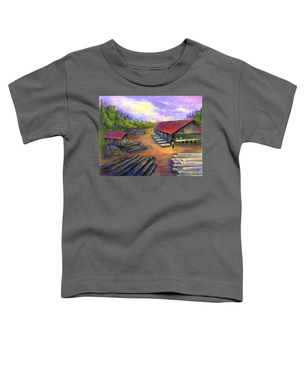 Amish Toddler T-Shirt featuring the painting Amish Lumbermill by Gail Kirtz