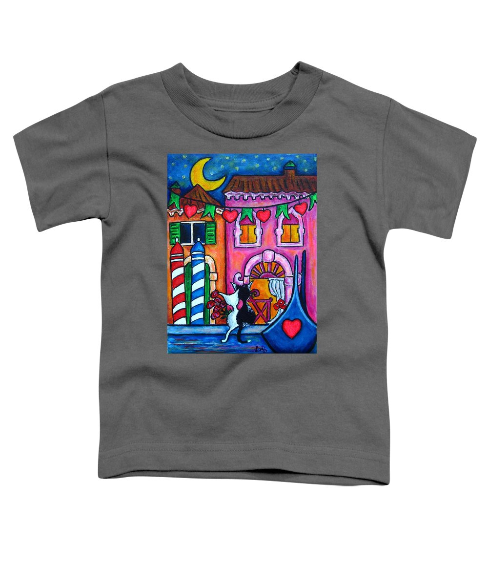 Cats Toddler T-Shirt featuring the painting Amore In Venice by Lisa Lorenz