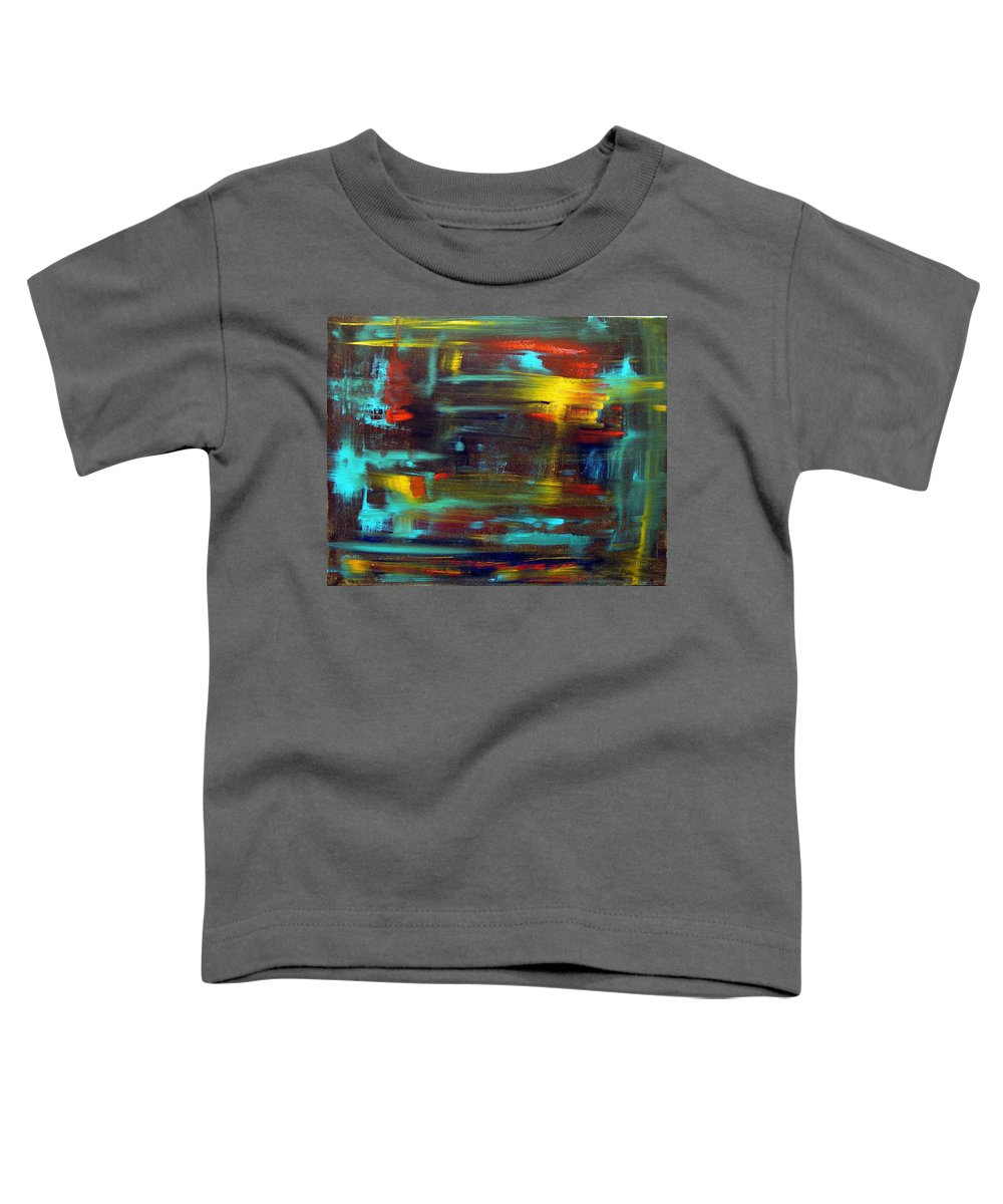 Red Blue Yellow Gold Brown Cad Orange Eyes Obama Oscar  Face Thought Emotions Toddler T-Shirt featuring the painting An Abstract Thought by Jack Diamond