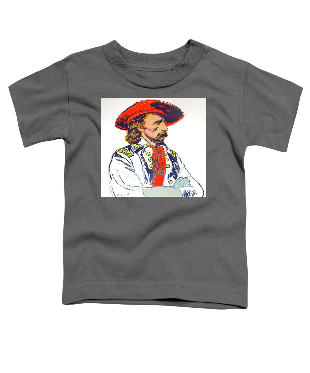 Andy Warhol Toddler T-Shirt featuring the mixed media Andy Warhol, General Custer, Cowboys and Indians series by Thomas Pollart