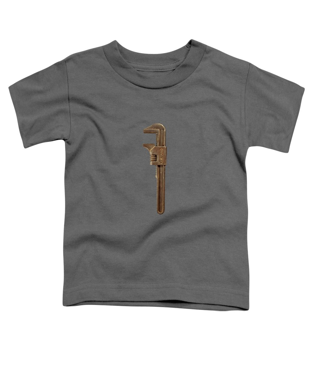 Background Toddler T-Shirt featuring the photograph Antique Adjustable Wrench Front On Black by YoPedro