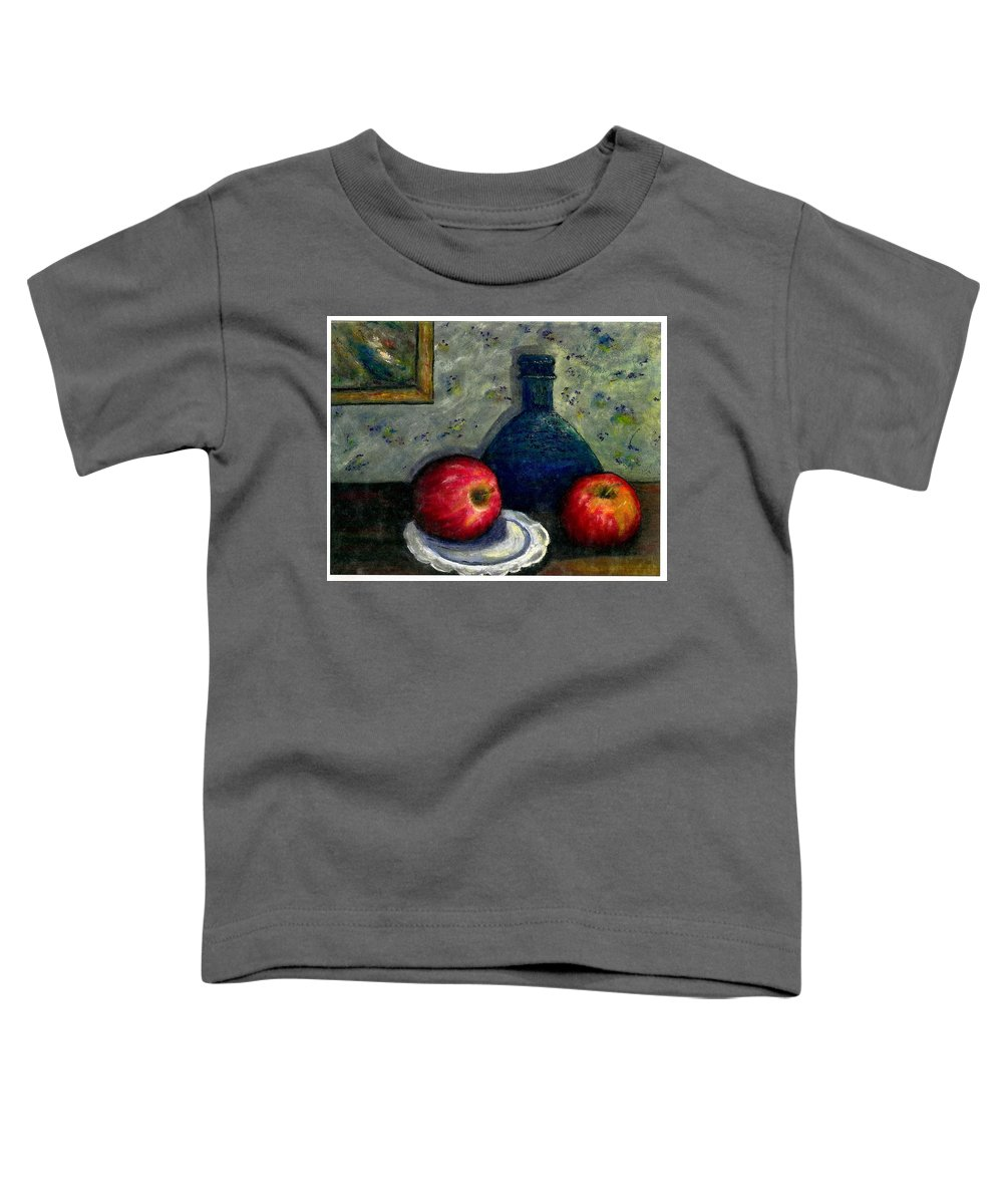 Still Life Toddler T-Shirt featuring the painting Apples And Bottles by Gail Kirtz