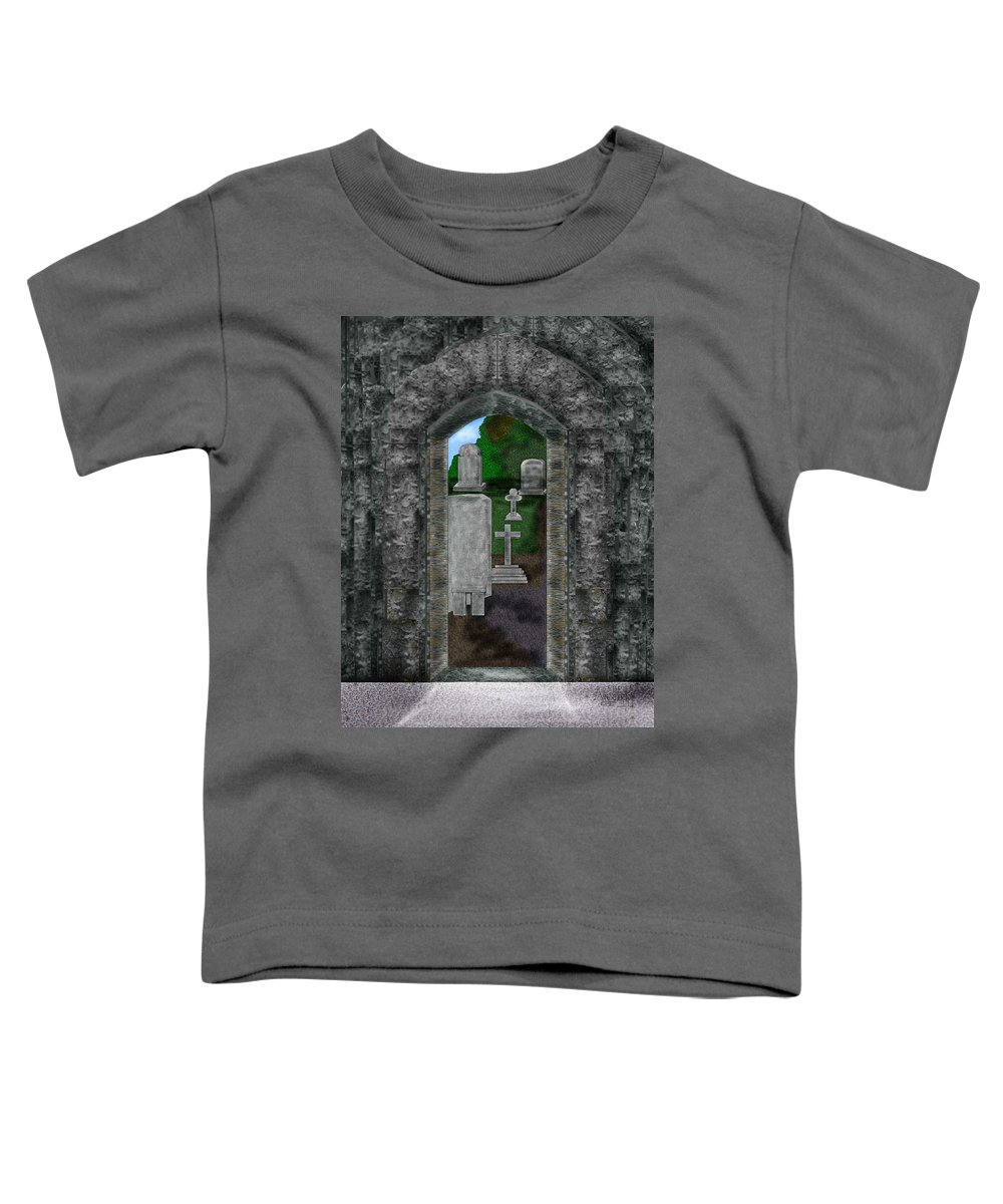 Digital Landscape Toddler T-Shirt featuring the painting Arches And Cross In Ireland by Anne Norskog