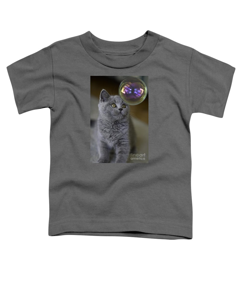 Cat Toddler T-Shirt featuring the photograph Archie With Bubble by Avalon Fine Art Photography