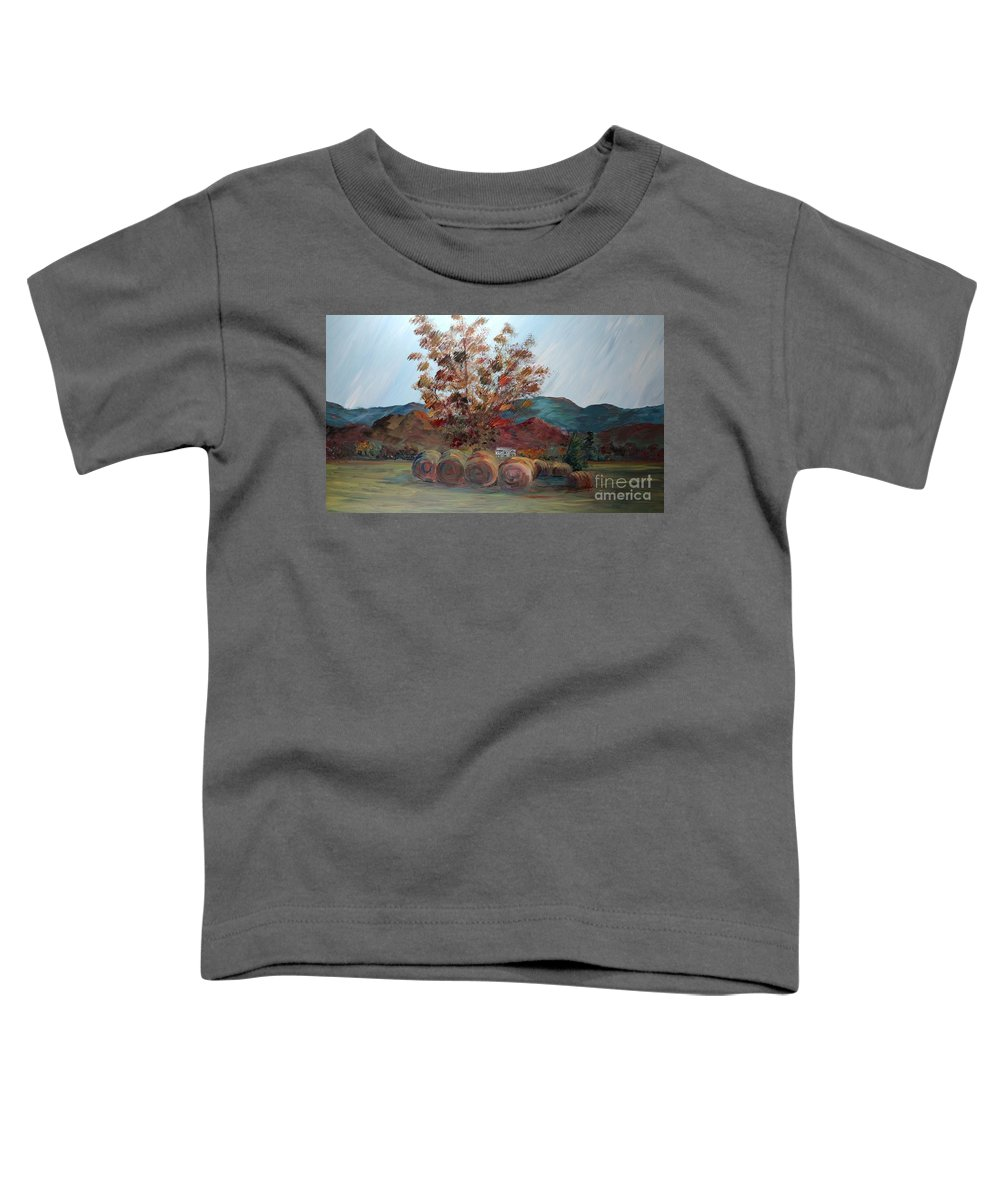 Autumn Toddler T-Shirt featuring the painting Arkansas Autumn by Nadine Rippelmeyer