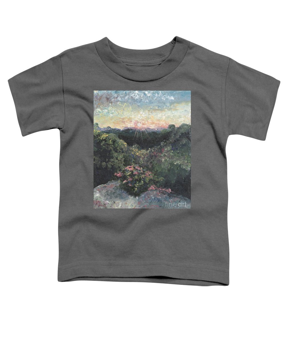 Landscape Toddler T-Shirt featuring the painting Arkansas Mountain Sunset by Nadine Rippelmeyer