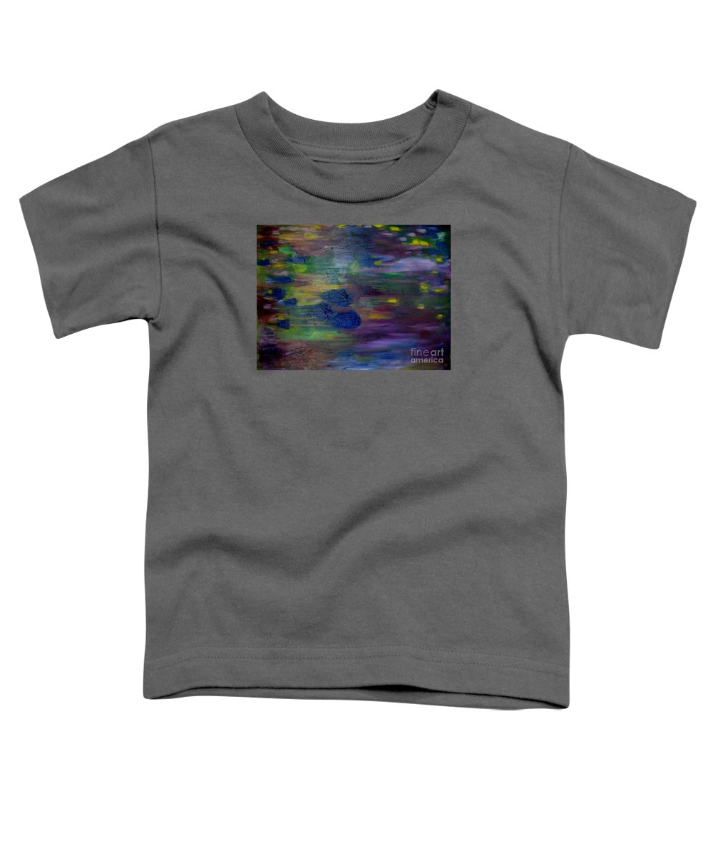 Abstract Toddler T-Shirt featuring the painting Around The Worlds by Laurie Morgan