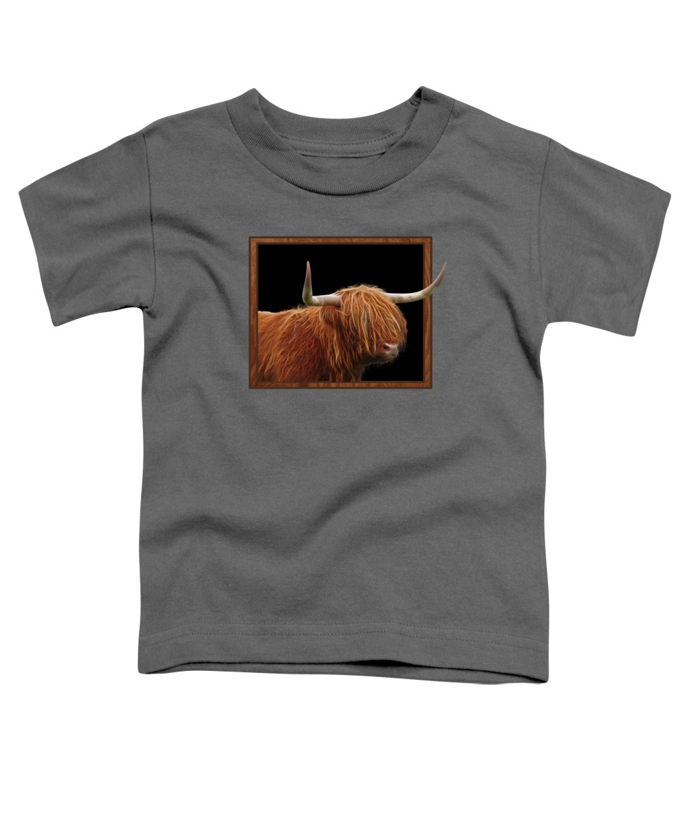 Highland Cow Toddler T-Shirt featuring the photograph Bad Hair Day - Highland Cow Square by Gill Billington
