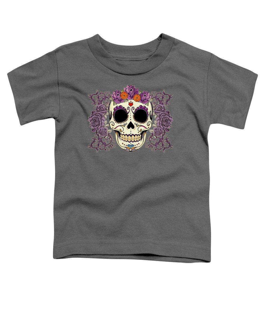 Sugar Skull Toddler T-Shirt featuring the digital art Vintage Sugar Skull And Roses by Tammy Wetzel