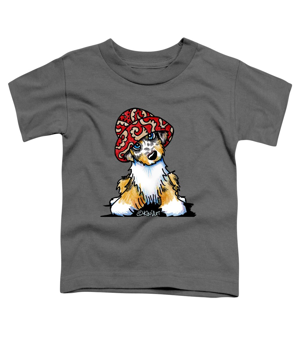 Aussie Toddler T-Shirt featuring the drawing Australian Shepherd by Kim Niles