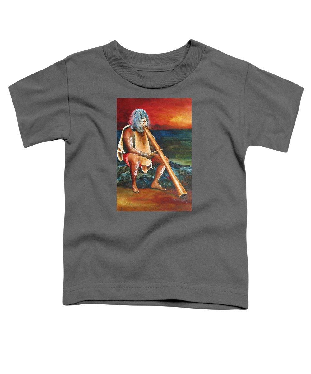 Australian Toddler T-Shirt featuring the painting Australian Solo by Karen Stark