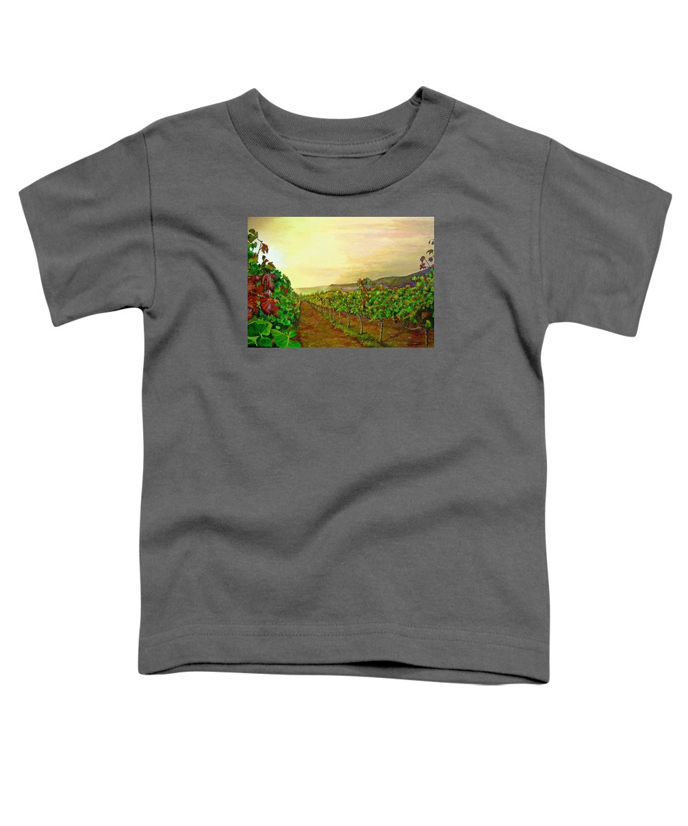 Vineyard Toddler T-Shirt featuring the painting Autumn At Steenberg by Michael Durst