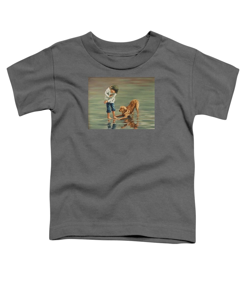 Girl Kid Child Figurative Dog Sea Reflection Playing Water Beach Toddler T-Shirt featuring the painting Autumn Eve by Natalia Tejera