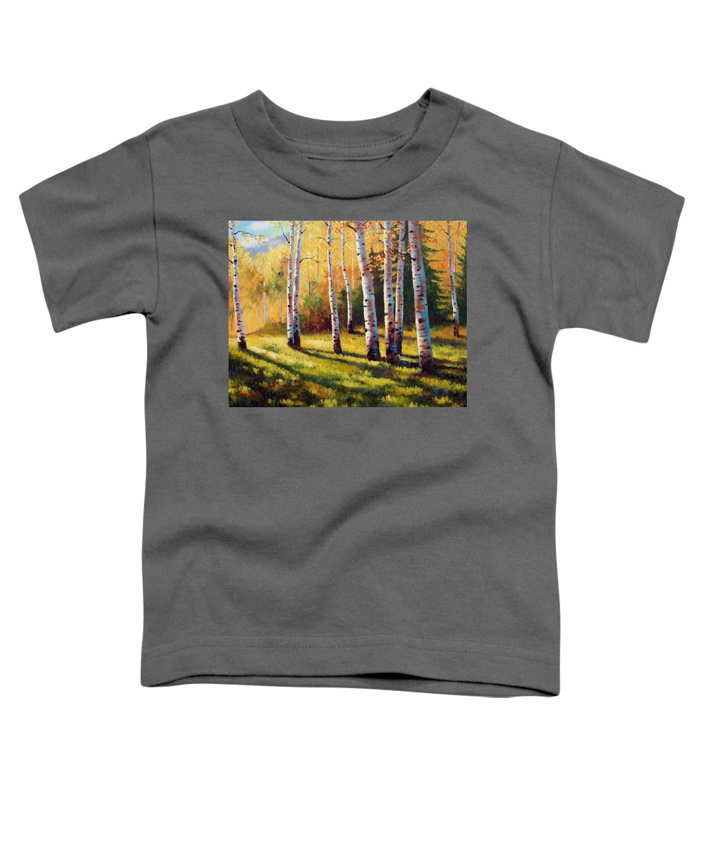 Landscape Toddler T-Shirt featuring the painting Autumn Shade by David G Paul