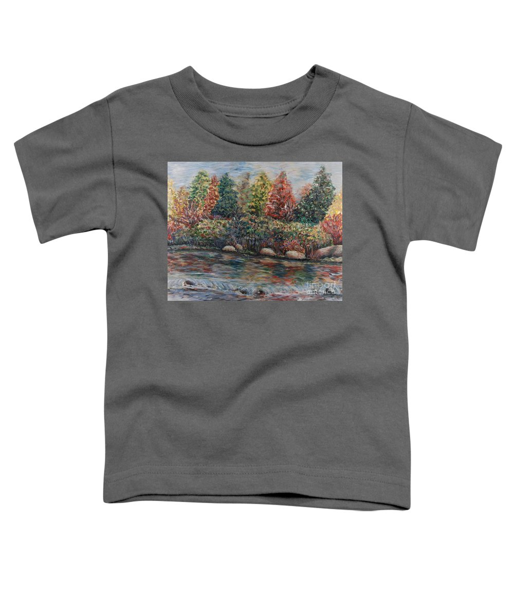 Autumn Toddler T-Shirt featuring the painting Autumn Stream by Nadine Rippelmeyer