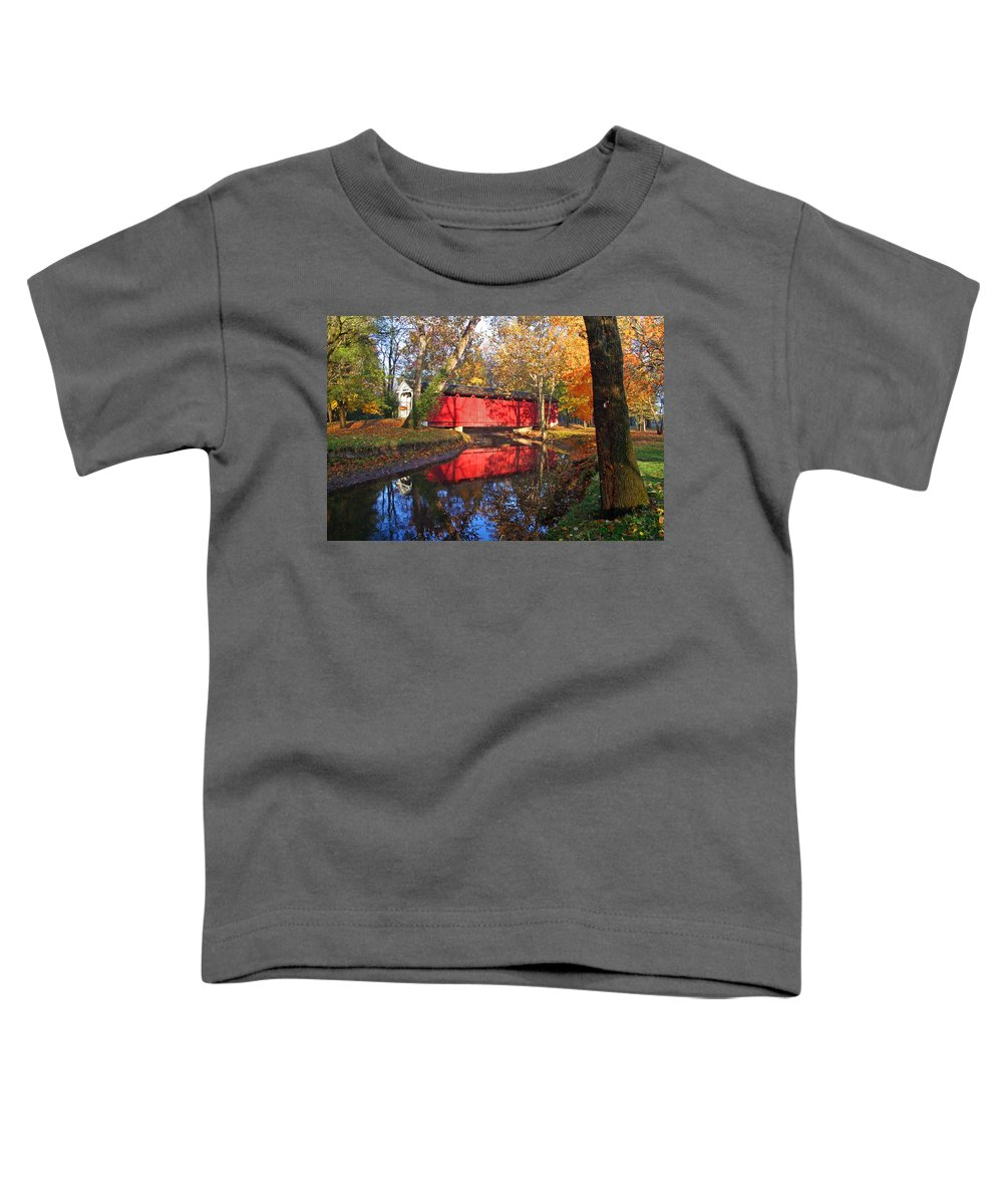 Covered Bridge Toddler T-Shirt featuring the photograph Autumn Sunrise Bridge II by Margie Wildblood