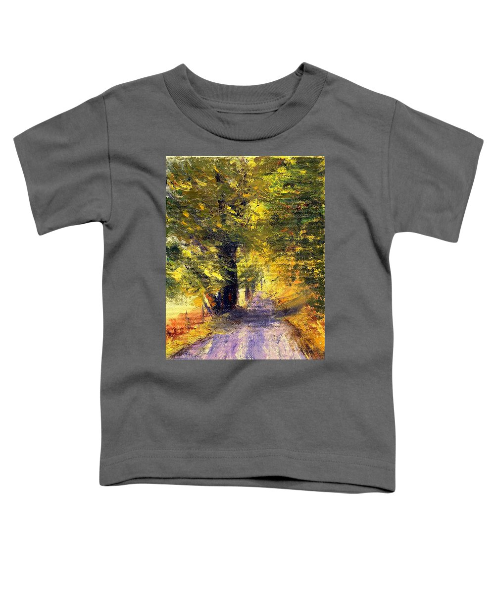 Autumn Toddler T-Shirt featuring the painting Autumn Walk by Gail Kirtz