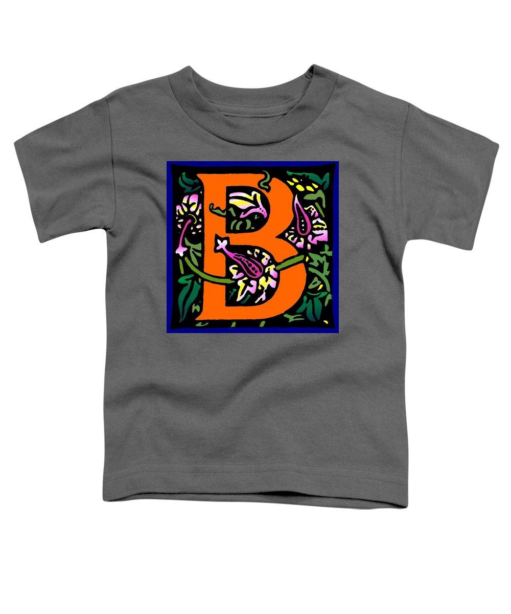 Alphabet Toddler T-Shirt featuring the digital art B In Orange by Kathleen Sepulveda