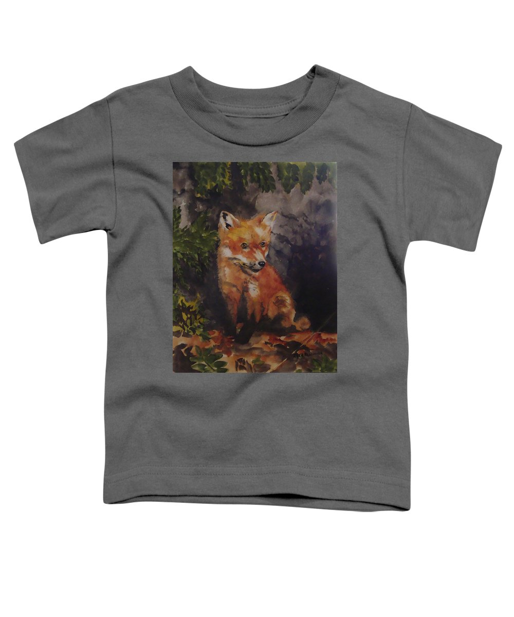 Fox Toddler T-Shirt featuring the painting Babe In The Woods by Jean Blackmer