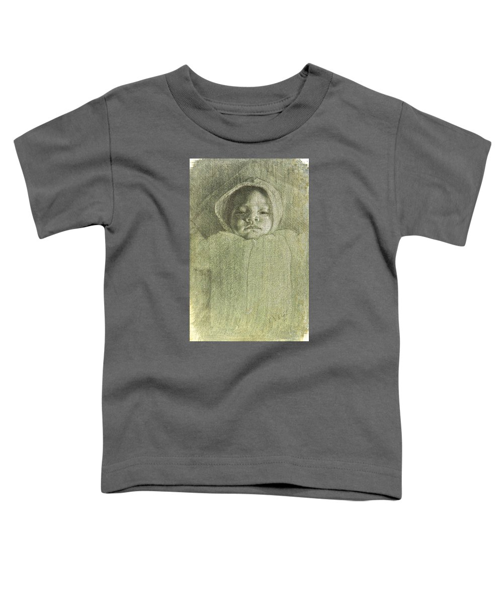 Toddler T-Shirt featuring the painting Baby Self Portrait by Joe Velez