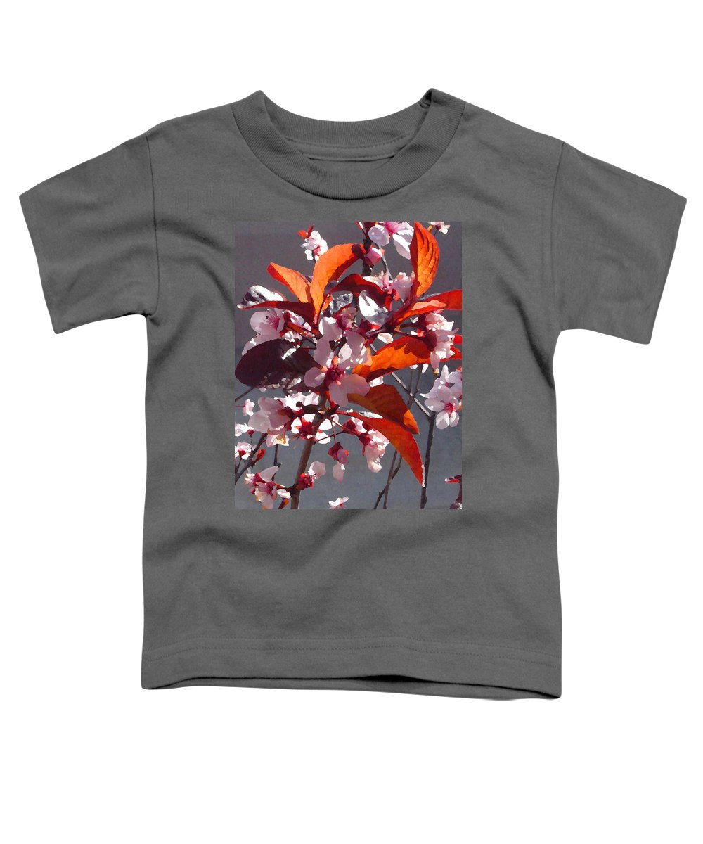 Floral Toddler T-Shirt featuring the painting Backlit Pink Tree Blossoms by Amy Vangsgard
