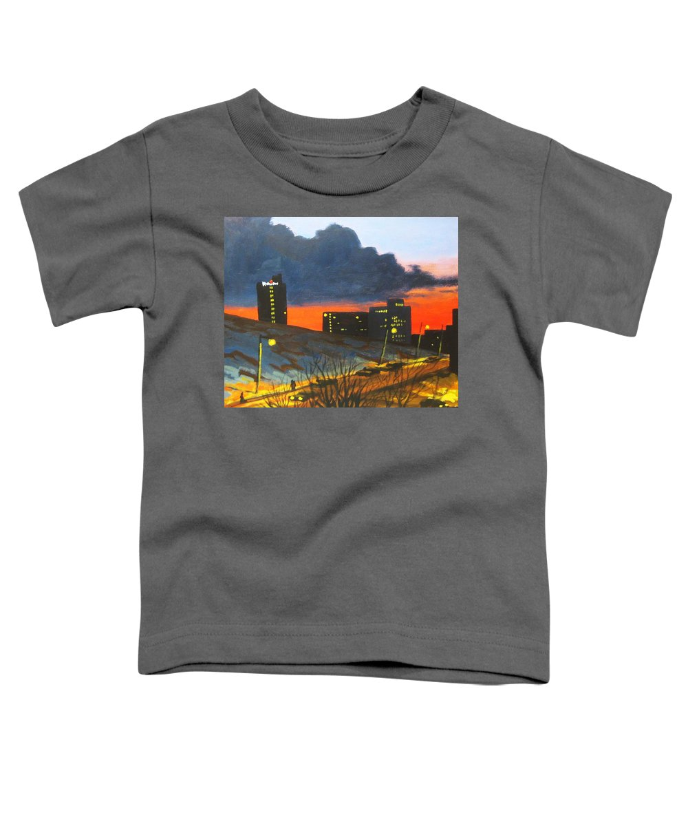 Sunset Toddler T-Shirt featuring the painting Balcony View 2 by John Malone