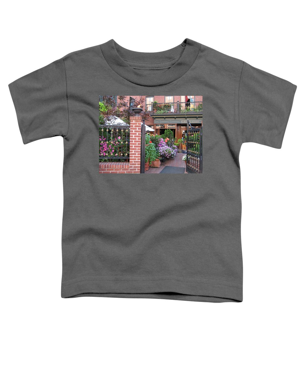 Courtyard Toddler T-Shirt featuring the photograph Baltimore Cafe     By Jean Carton by Jerrold Carton