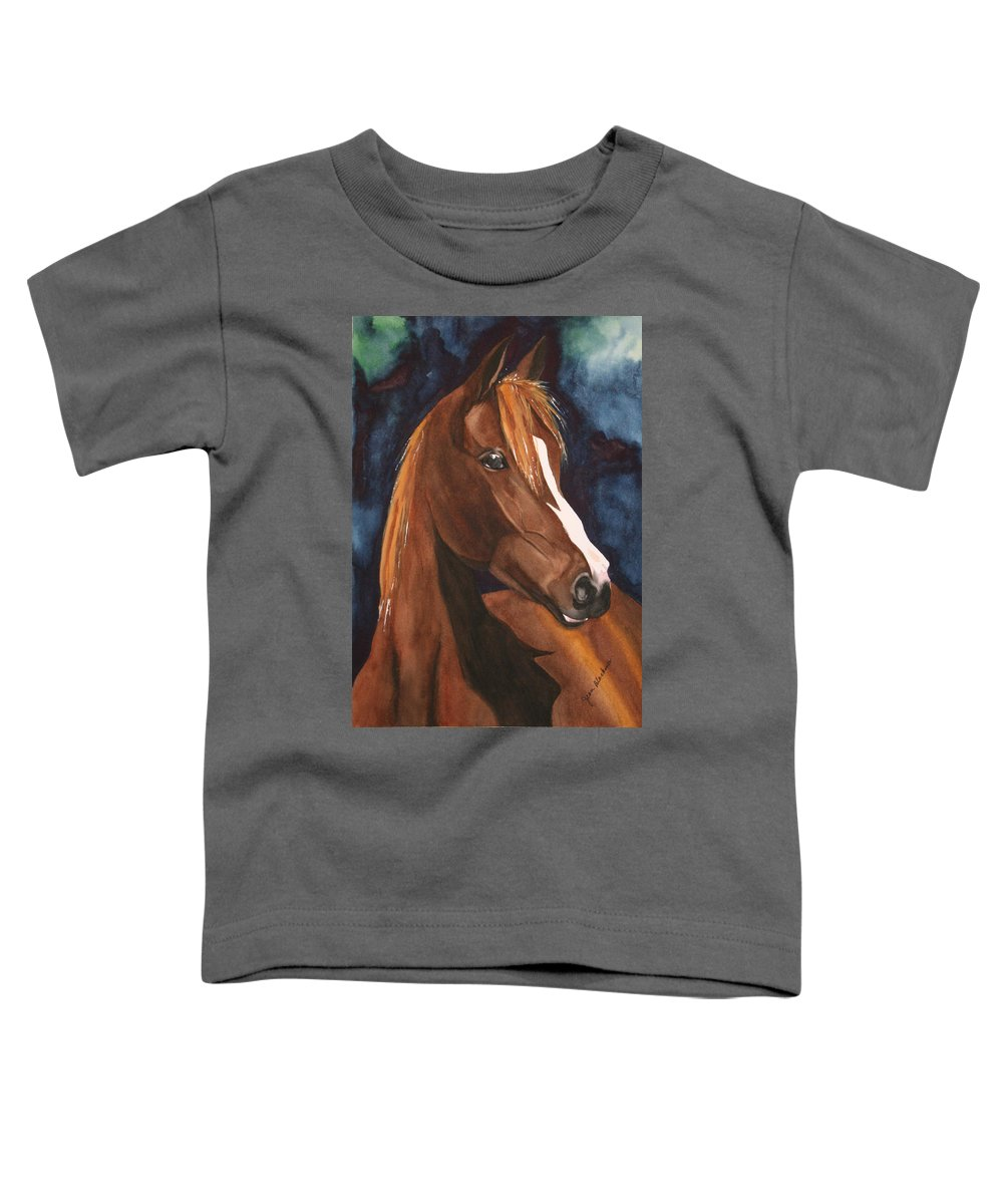 Horse Toddler T-Shirt featuring the painting Bay On Blue 2 by Jean Blackmer