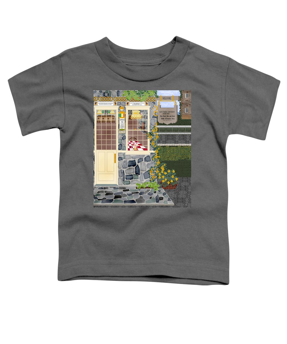 Quaint Inn Toddler T-Shirt featuring the painting Bayside Inn And Tavern In Ireland by Anne Norskog