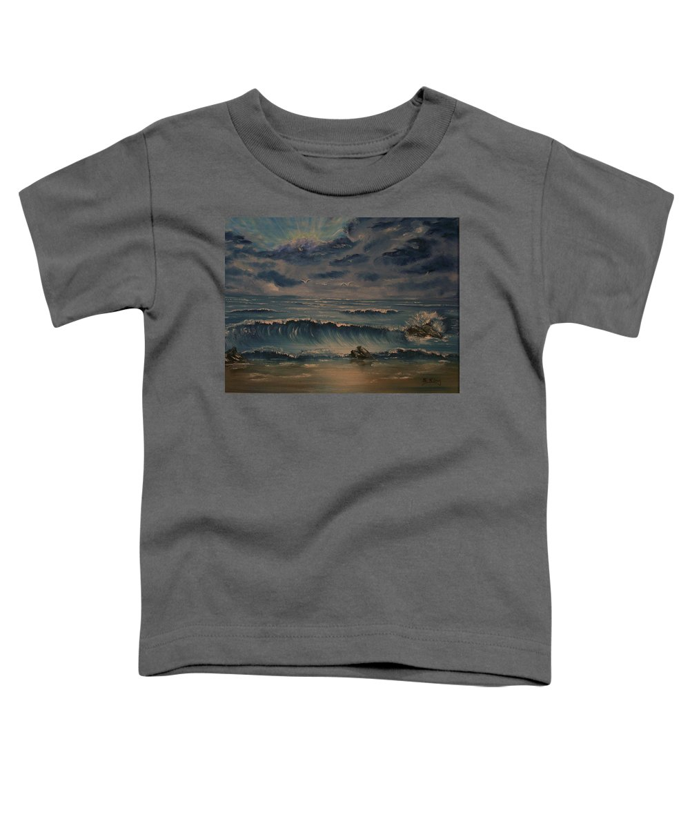 Water Toddler T-Shirt featuring the painting Beach Scene by Stephen King