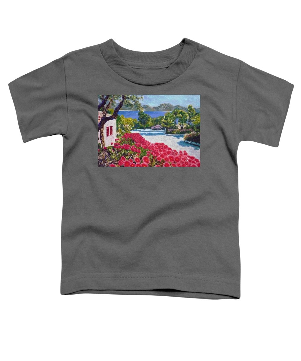 Landscape Toddler T-Shirt featuring the painting Beach With Flowers by Ericka Herazo